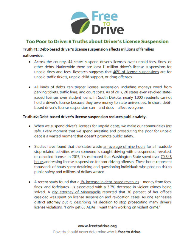 Too Poor to Drive: 6 Truths About Driver's License Suspension